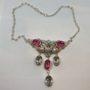 Sterling with Pink and White Crystals Pendant